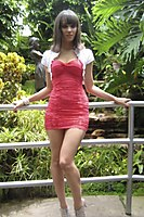 Outdoor In A Superhot Red Miniskirt - Picture 11