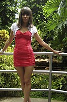 Outdoor In A Superhot Red Miniskirt - Picture 4