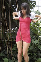 Outdoor In A Superhot Red Miniskirt - Picture 5