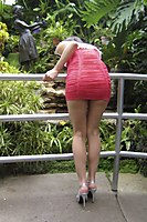 Outdoor In A Superhot Red Miniskirt - Picture 7